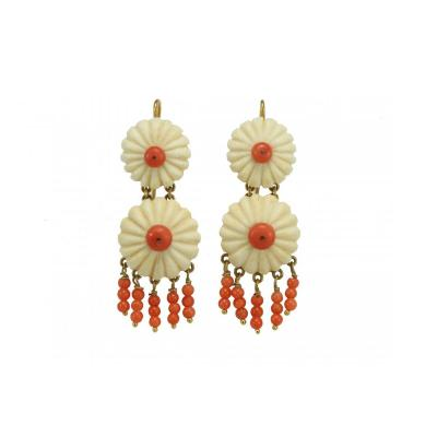 Antique  Ivory  Coral  Gold Earrings