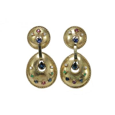 Vintage Diamonds Zafires Emeralds Rubies Gold Earrings