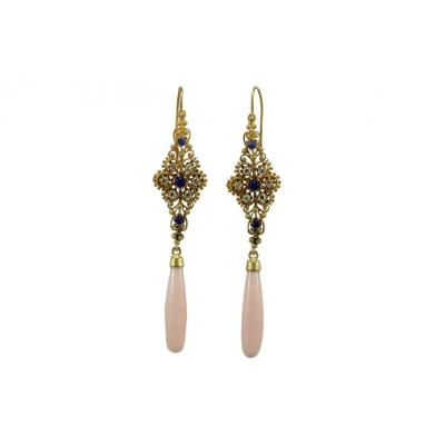 Vintage Coral Sapphires Diamonds Gold Earrings