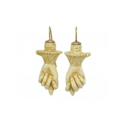 Antique Carved Ivory Gold Earrings