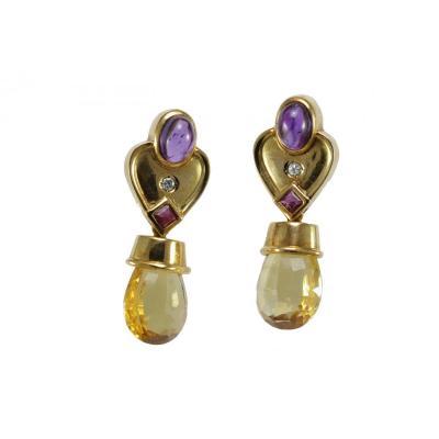 Vintage Citrine Amethyst Diamond Ruby Gold Earrings