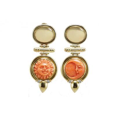 Vintage Coral Diamonds Gold Earrings