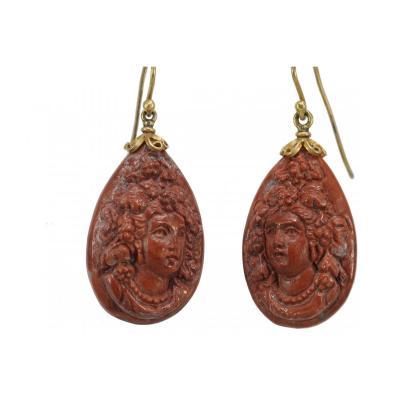 Antique Lava Gold Earrings