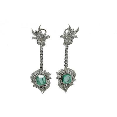 Boucles d'Oreilles Pendantes Art Decò Platine Emeraude Diamant