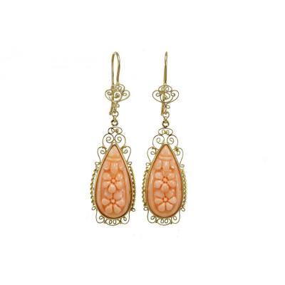 Vintage Coral Gold Filigree  Earrings