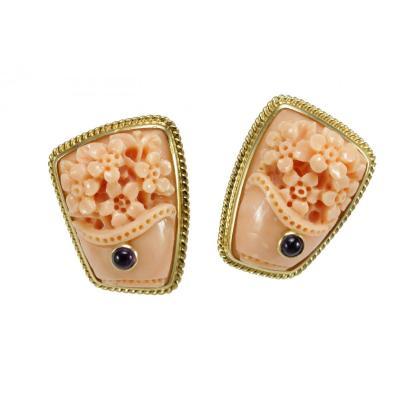Vintage Coral Sapphire Earrings