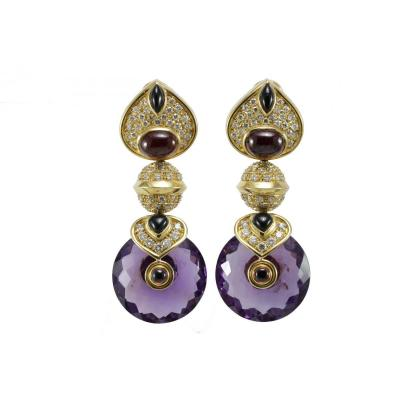 Vintage Amethyst Onyx Ruby Diamond Gold Earrings