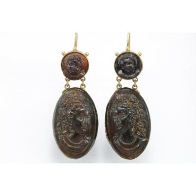 Antique Tortoiseshell Cameos Gold  Earrings