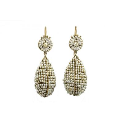 Antique Pearls Gold Drop Earrings