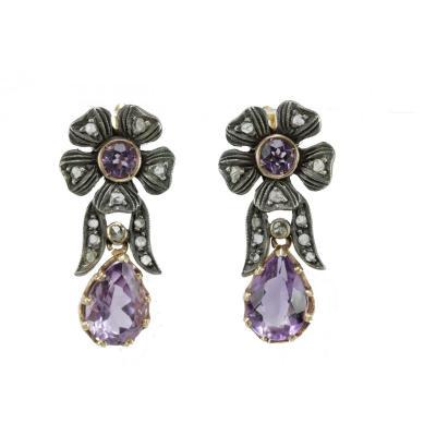 Boucles d'Oreilles Anciennes Or Amethyste Diamant