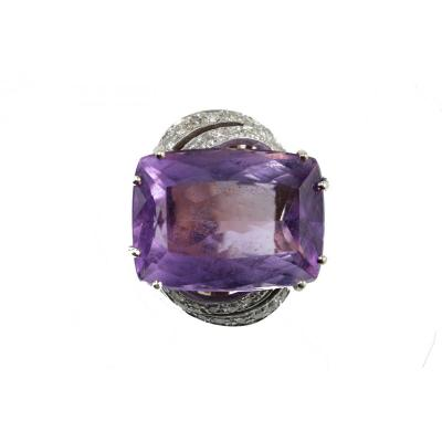 Bague Vintage Or Amethyste Diamant