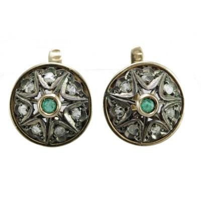 Antique Gold Emerald Diamond Earrings
