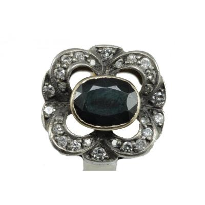 Bague Vintage Or Saphir Diamant