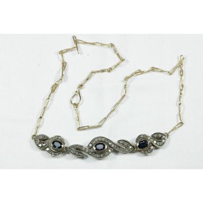 Collier Ancien Or Saphir Diamant