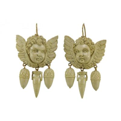 Antique Lava Carved Gold Earrings