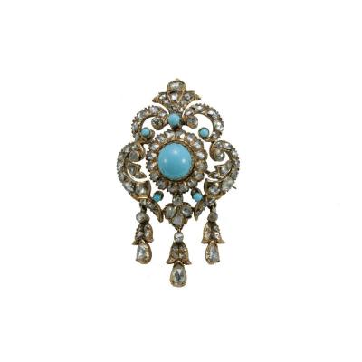 Broche Ancienne Or Diamants Turquoise