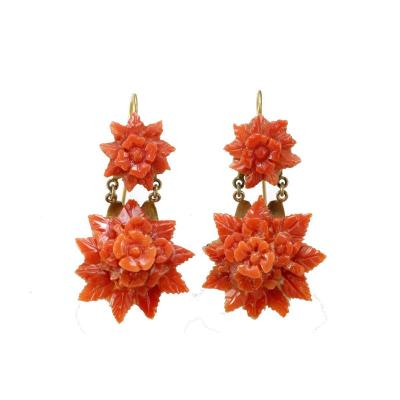 Antique Coral Gold Earrings