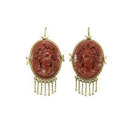 Antique Jasper Camee Gold Earrings