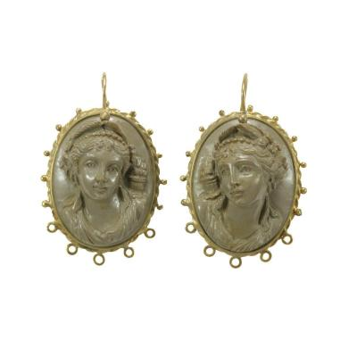 Antique Lava Cameos Gold Earrings