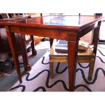 Att AA RATEAU table à Jeu Art Deco en Merisier Plateau Réversible Feutre Bois