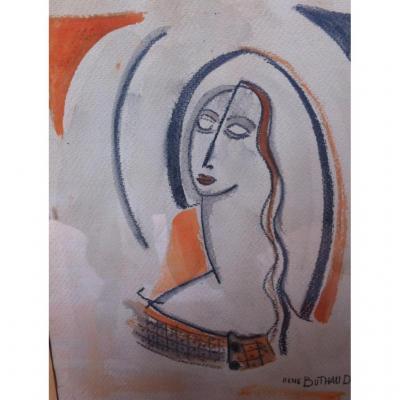RENE  BUTHAUD  Aquarelle et crayon  gras