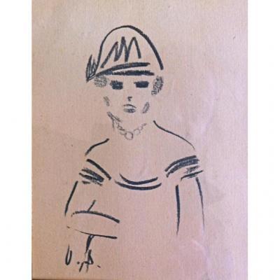 Elégante au chapeau par KEES  VAN DONGEN