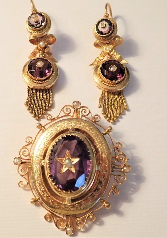 Pair Of Earrings And Pendant-brooch 18k Gold Late Nineteenth