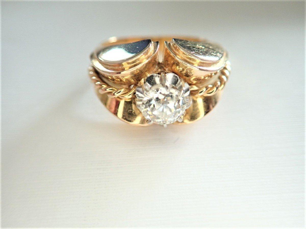Art Déco Bague Diamant Or 18 Carats-photo-2
