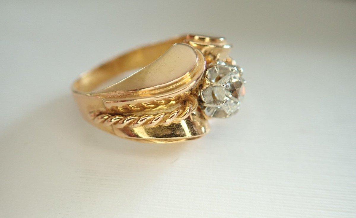 Art Déco Bague Diamant Or 18 Carats-photo-3