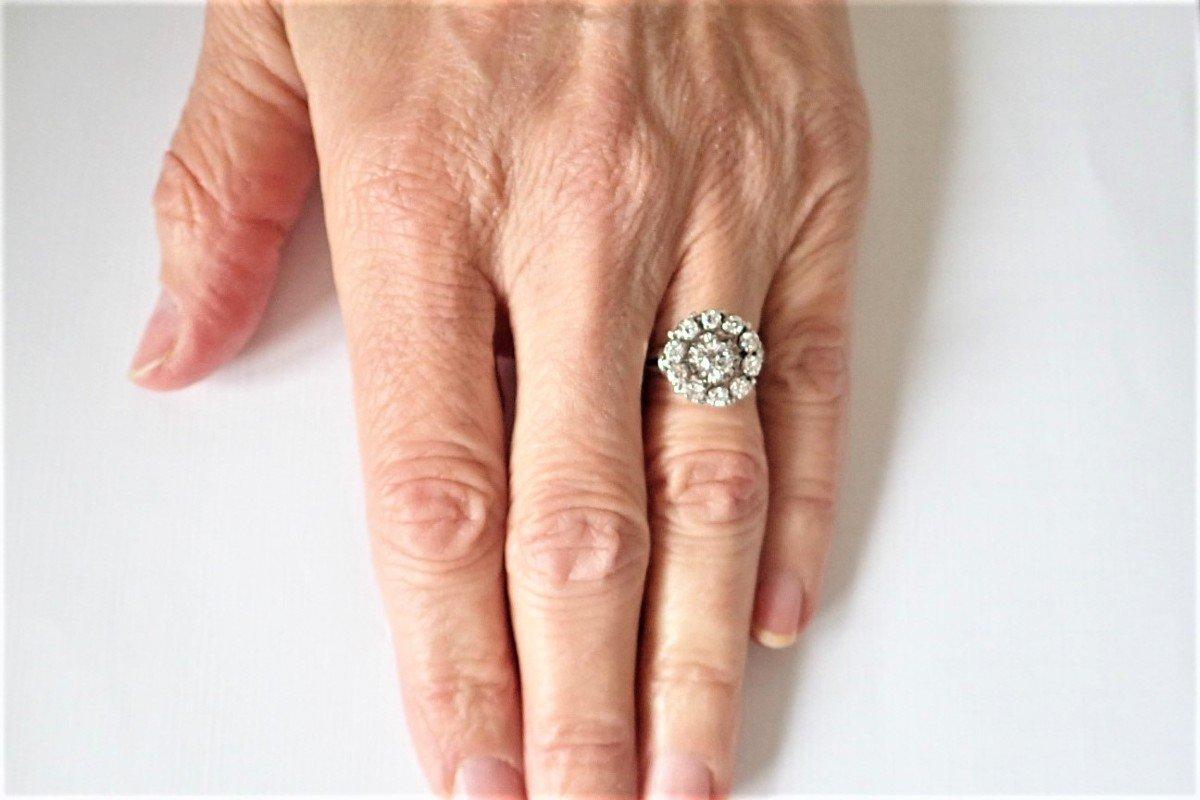 Bague Marguerite Diamants Or Blanc  18 Carats-photo-4