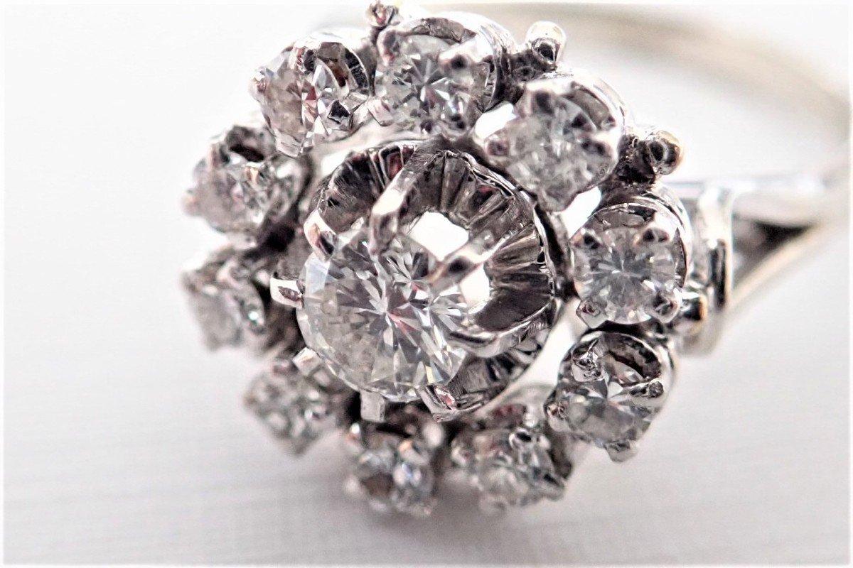 Bague Marguerite Diamants Or Blanc  18 Carats