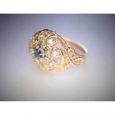1940s Sapphire And Diamonds Gold Ring