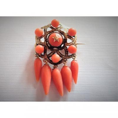18k Gold And Coral Brooch Late Nineteenth