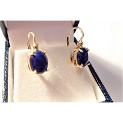 Paire De Boucles d'Oreilles Lapis Lazuli Or 18 Carats