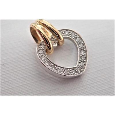 18k Gold Heart Pendant And Diamonds
