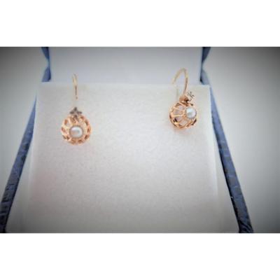 Boucles d'Oreilles Dormeuses  Or 18 Carats Perles
