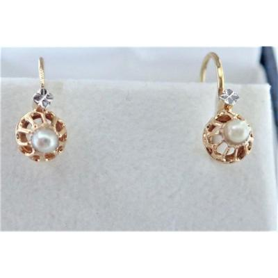 Pair Of Gold Dormeuse Earrings End XIXth
