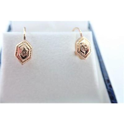 Pair Of 18k Gold Dormeuse Earrings Late Nineteenth
