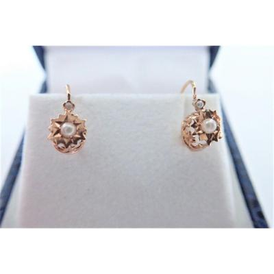 Napoleon III Pair Of 18k Rose Gold Dormeuse Earrings