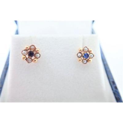 Pair Of 18k Gold Pearl Earrings Late Nineteenth