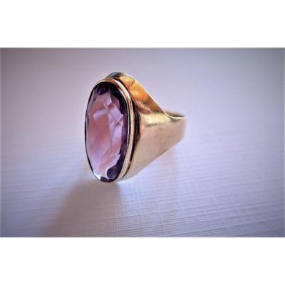 Vintage Amethyst Signet Ring 18k Gold