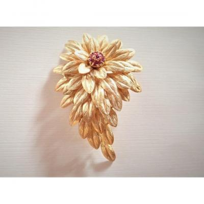 Vintage Broche Or 18 Carats Rubis