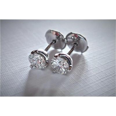 Paire De Boucle d'Oreille Diamants Taille Moderne Or Blanc 18 Carats