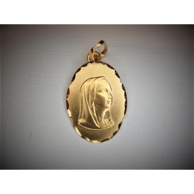 Holy Virgin Medal 18k Gold