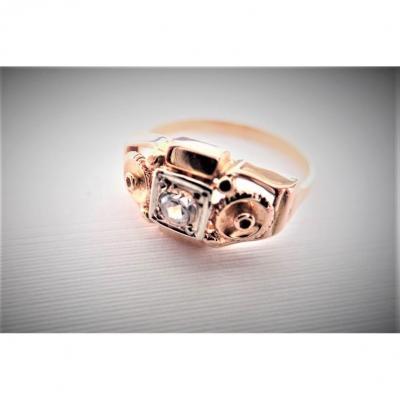 Art Deco 18k Rose Gold Diamond Ring