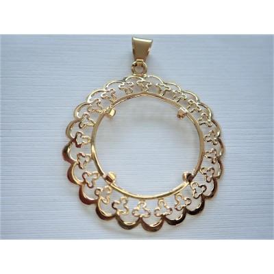 18k Gold Coin Holder Pendant