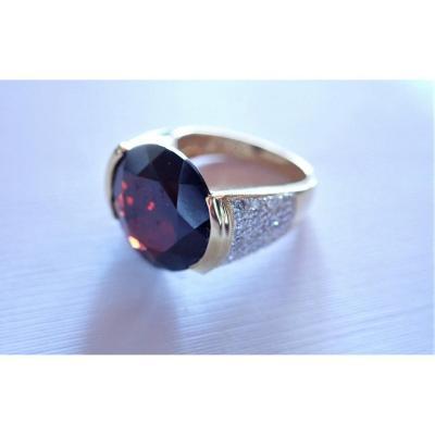 Vintage  Bague Diamants Et Grenat Or 18 Carats