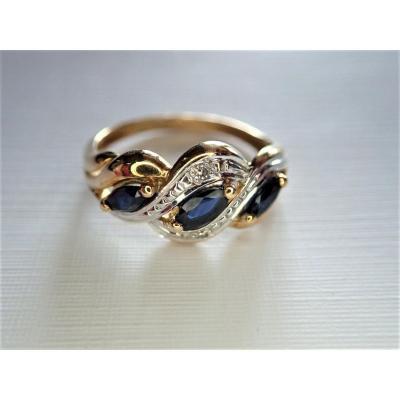 Bague Saphirs Et Diamants Or 18 Carats