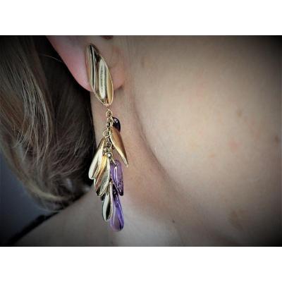 Vintage Pair Of 18k Gold Amethyst Earrings