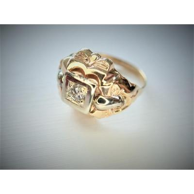 Art Deco Bague Diamant Or 18 Carats